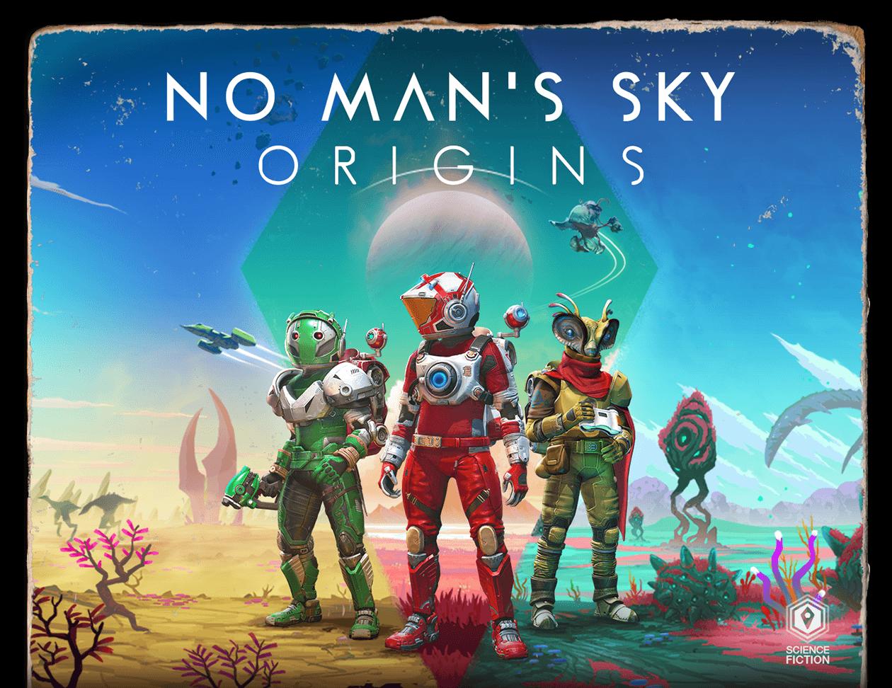 Book cover styled art showcasing No Man's Sky artwork